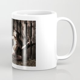 Woman shackled with heavy shackles or cuffs Coffee Mug