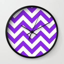 Large chevron pattern / blue violent Wall Clock