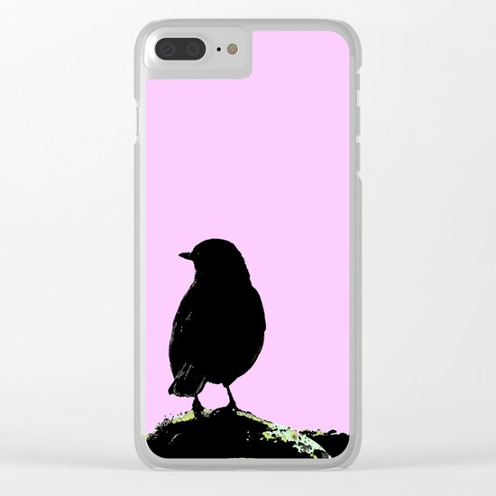 Spring mood - singing bird - black bird on a pink background Clear iPhone Case