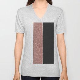 Modern Rose Gold Glitter Black White Color Blocks Unisex V-Neck