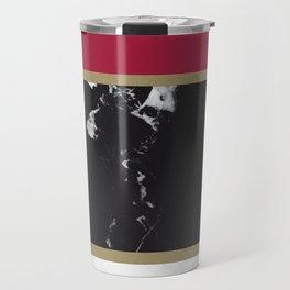 Marble Mix Stripes #2 #black #white #red #gold #decor #art #society6 Travel Mug