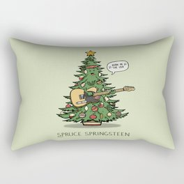 Spruce Springsteen - Funny Christmas Music Cartoon Pun Rectangular Pillow