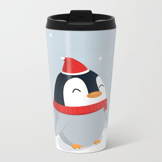 Christmas Penguin Metal Travel Mug
