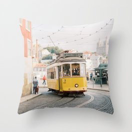 Yellow Tram in Lisbon | Portugal Streetcar Travel Photography | Europe Trolley Throw Pillow