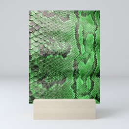 Abstract Green Snakeskin Scales from Python Mini Art Print