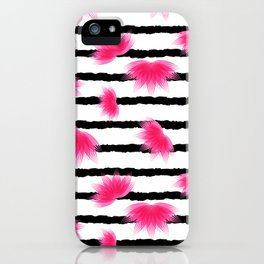 Lotus flower pattern with black stripes iPhone Case