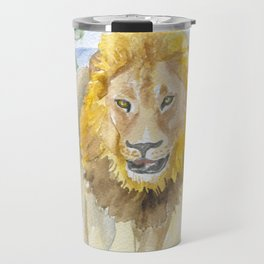 Lion in Africa Watercolor Travel Mug