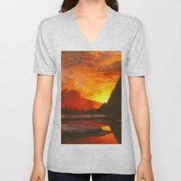 Classical Masterpiece 'Sunset in the Yosemite Valley' by Albert Bierstadt Unisex V-Neck