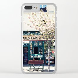 Cherry blossoms in Paris, Shakespeare & Co. Clear iPhone Case