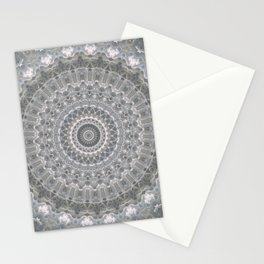 Mandala in white, grey and silver tones Stationery Cards