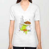 crocodile V-neck T-shirts featuring Crocodile. by el Jeh