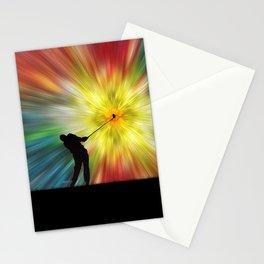 Tie Dye Silhouette Golfer Stationery Cards