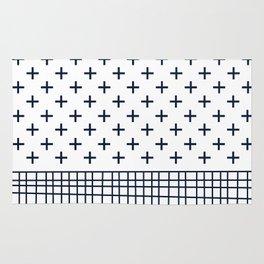 Cross Geometric Modern Navy and White Rug