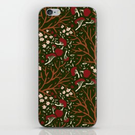 red mushrooms on green iPhone Skin