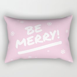Pale Pink Be Merry Christmas Snowflakes Rectangular Pillow