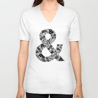 helvetica V-neck T-shirts featuring Helvetica Ampersand by Phillip Kauffman