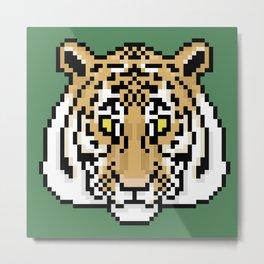 Pixel Tiger Face Metal Print
