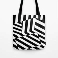 Black and White Dazzle Camouflage Pattern Tote Bag