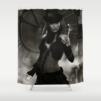 steam punk Shower Curtains featuring Steam Punk - Keeper of Time by J. Ekstrom