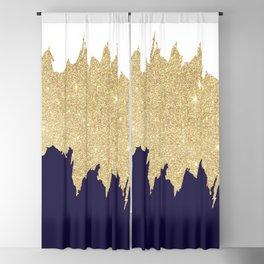 Modern navy blue white faux gold glitter brushstrokes Blackout Curtain