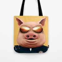 pigs Tote Bags featuring PIGS by Brandon Juarez