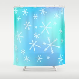 Unique Snowflakes on Blue Gradient Background Shower Curtain