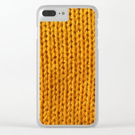 Mustard Yellow Knit Clear iPhone Case