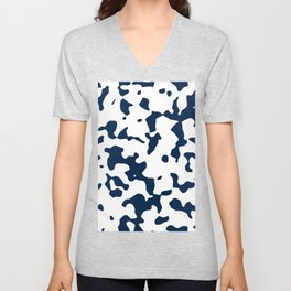 Large Spots - White and Oxford Blue Unisex V-Neck