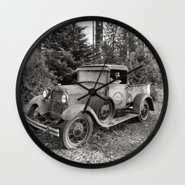 Buck Nasty's Moonshine Model A Ford Vintage Truck Skeleton Wall Clock