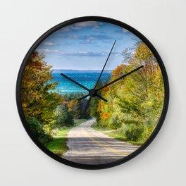 Pictures Michigan USA Leelanau Nature Autumn Roads Trees Wall Clock