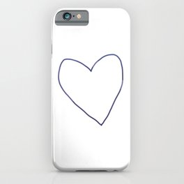Blue Heart Outline iPhone Case