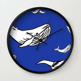 White Whales Wall Clock