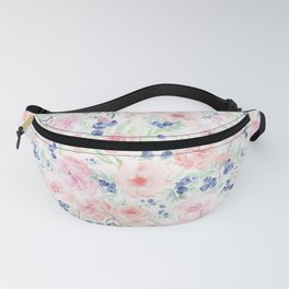 Midsummer Watercolor Roses And Blueberries  Fanny Pack