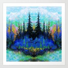 Blue Spruce Island Abstract Art Art Print