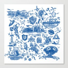 "Zelda ""Hero of Time"" Toile Pattern - Zora's Sapphire Canvas Print"