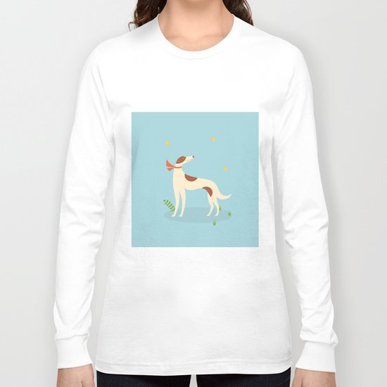 Borzoi And Butterfly Long Sleeve T-shirt