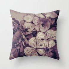 Geraniums -- Monochrome Floral in Aubergine Throw Pillow