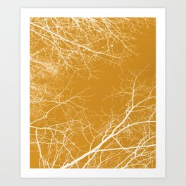 Branches Impressions on Yellow Art Print