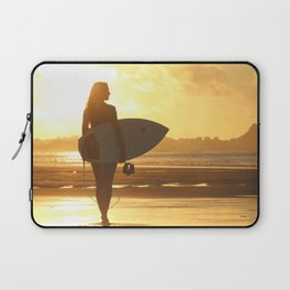 Surfer on the Beach (Woman) Laptop Sleeve