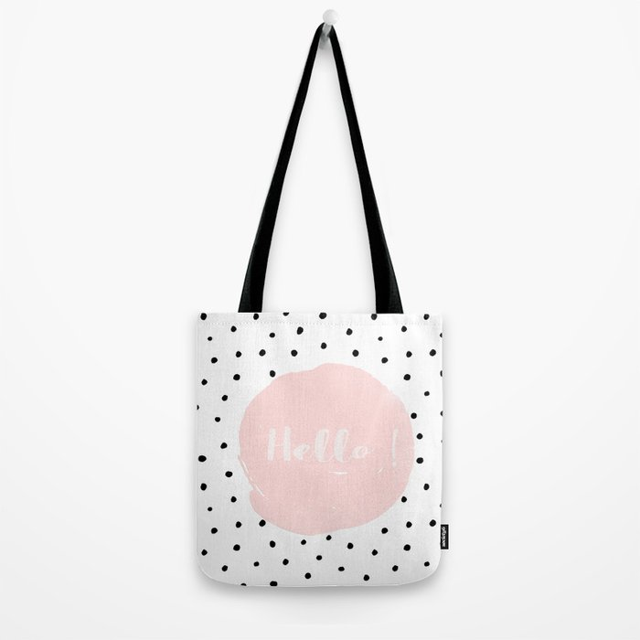Hello! Black on white Polkadots and pink Typography Tote Bag