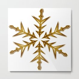 Minimalistic Golden Snowflake Metal Print