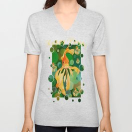 Happy Norooz Persian New Year Goldfish In Green Sea Unisex V-Neck