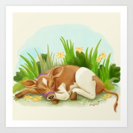 Sleepy Cow Art Print