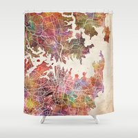 sydney Shower Curtains featuring Sydney by MapMapMaps.Watercolors