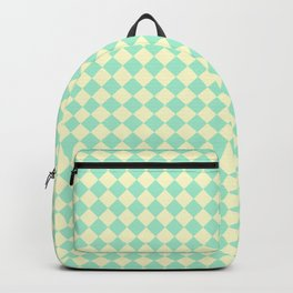 Cream Yellow and Magic Mint Green Diamonds Backpack