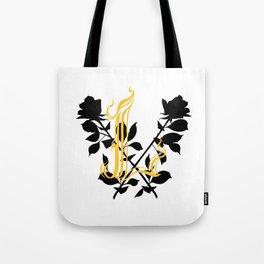 Locust Tattoo roses and L monogram by Sarah de Azevedo Tote Bag