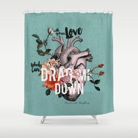 coconutwishes Shower Curtains featuring Drag Me Down by Coconut Wishes