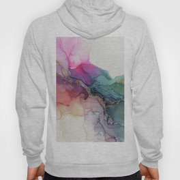 Abstract Coral Turquoise Canvas Texture Painting Hoody