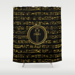 Gold Egyptian Ankh Cross symbol Shower Curtain