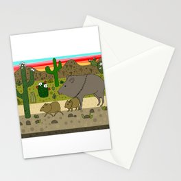 Javelinas in The Sonoran desert Stationery Cards
